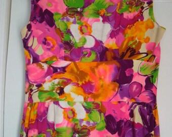 Vintage Floral Hawaiian Barkcloth Maxi Dress with Rare Button Back Closure- Size S/M