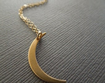 moon necklace, gold moon necklace, large moon pendant, crescent moon, simple necklace, everyday necklace, brass 14k gold filled, N184