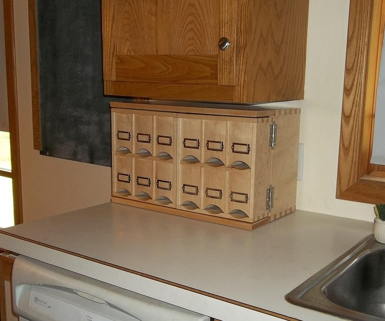 Small Countertop Tea Storage Cabinet Made By Keminerwoodworking