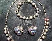 Stunning Weiss aurora borealis earring, necklace and bracelet matched set - vintage 1950s - mad men style
