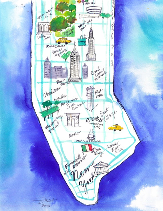 Original watercolor map illustration of NYC by Jessica Durrant, titled This is My New York