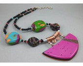 Handcrafted Tropical Choker - Magenta Tangerine Wire Wrapped Necklace No. 170