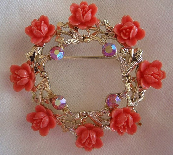 ROSES Orange Faux Coral Aurora Borealis Rhinestones Wreath PIN Autumn