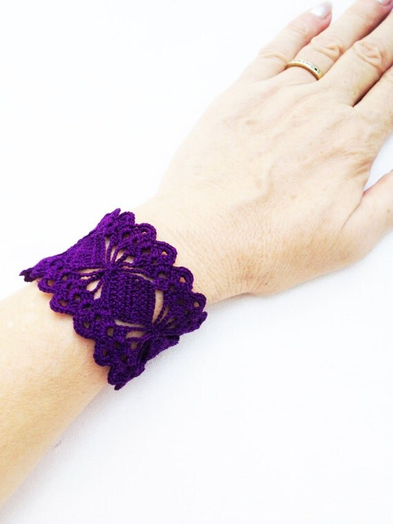 Crochet  Lace  Cuff Bracelet,  Wedding Accessory