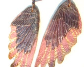 Hand Made Wing Earrings in Lavender, Mauve and Copper