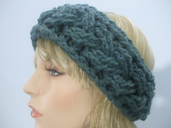 Crochet Headband Pattern Cable : Teal Blue Crochet Cable Headband. Soft Wool Blend Yarn. Extra