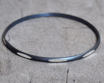 Dark Silver Oval Beacon Bracelet- made to order