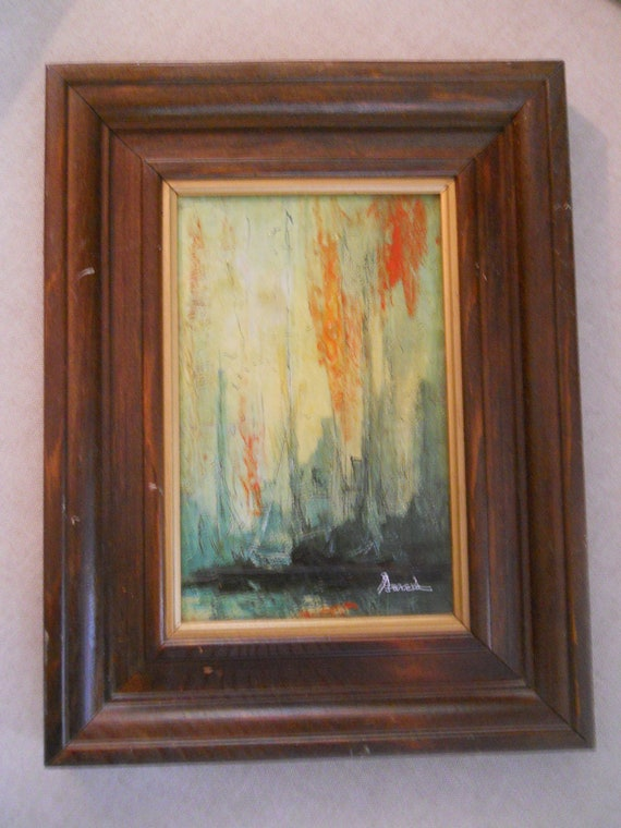 Mid Century Modern Abstract Painting signed Garcia