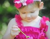 Hot Pink Sabby Rose Headband  Newborn/ Toddler/ Girls
