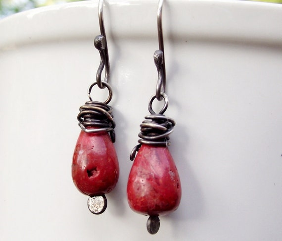 Rustic Coral Dangle Earrings Sterling Silver Oxidized Deep Red Drops- Wire Wrapped