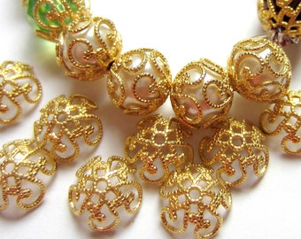 35 Filigree bead caps gold vintage style 8mm  x 2.5mm jewelry making supplies EC128-G (SR)