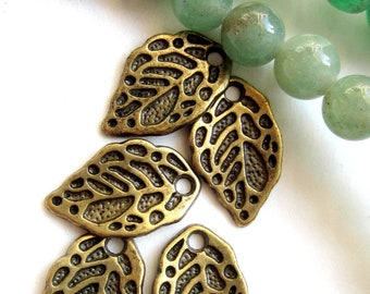 24 leaf charms bronze earring dangles charm bracelet drops jewelry making pendants 10mm x 15mm A0053