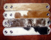 Variety Set of 4-Cowhide Cuffs - Cowhide Colors /Cowhide Bracelet / Leather Supply /Cowhide Cuff /Leather Bracelet / Leather Jewelry/Supply