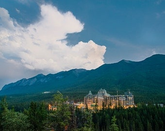 Banff Hotel Photo, Banff Springs Alberta Canada Lodge Jasper National Park Wall Art Home Decor Fine Art Print can1