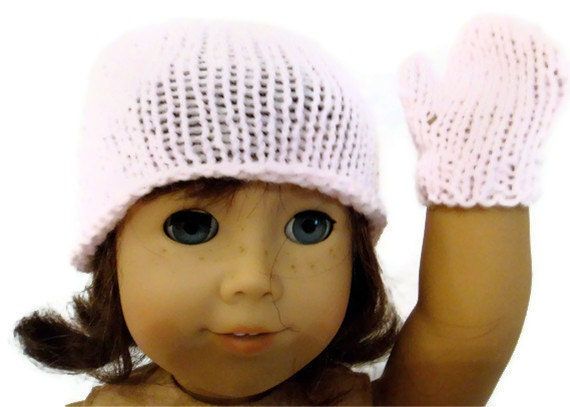 Hat and Mitten Set Pink American Girl Doll