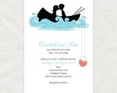 hooked on you invitation - printable file - fishing row boat DIY wedding invitation, bridal or couples shower