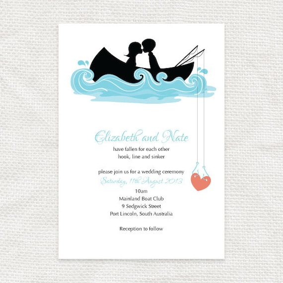 Hooked On You Invitation Printable File Fishing By