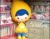 PDF. Coraline doll .Plush Doll Pattern, Softie Pattern, Soft felt Toy Pattern.