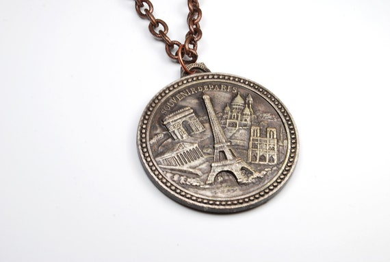 Vintage Necklace - Paris, France - Eiffel Tower - Reversible Pendant Necklace - Jewelry by Steampunk Vintage Deisign