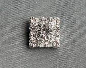 5 Rhinestone Button Square Diamante Crystal Hair Flower Comb Clip Wedding Invitation Scrapbooking Ring Pillow Napkin Ring BT054