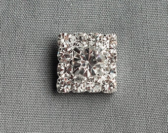 5 Rhinestone Button Square Diamante Crystal Hair Flower Comb Clip Wedding Invitation Scrapbooking Ring Pillow Napkin Ring BT054