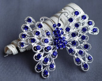 Rhinestone Brooch Component Crystal Dark Royal Blue Butterfly Hair Comb Shoe Clip Pin Wedding Cake Decoration BR128