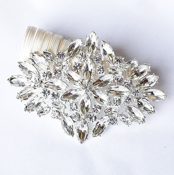 Rhinestone Brooch Component Crystal Flower Bridal Hair Comb Shoe Clip Pin Wedding Cake Decoration Invitation BR075