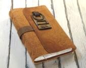 Leather Art Journal - Caramel Orange Leather Journal / Notebook with Vintage Door Hole