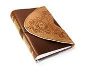 Handmade Journal - Leather Bound, Vintage Style - Art Journal - Wild West