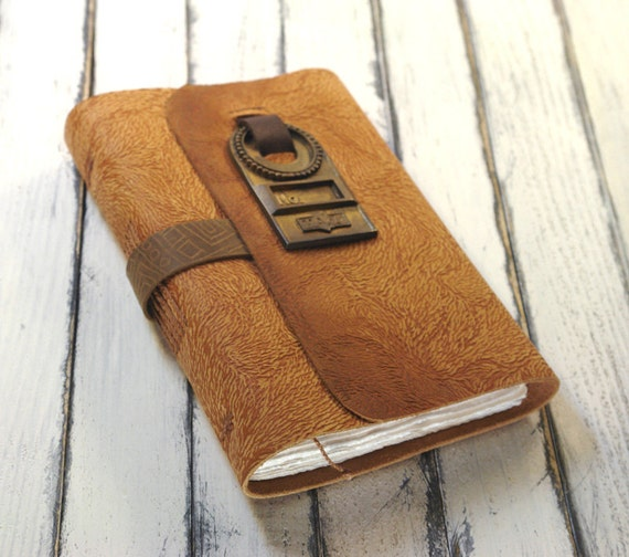 Leather Art Journal - Caramel Orange Leather Journal / Notebook with Vintage Door Hole