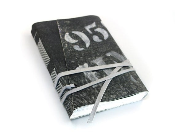 Leather Journal - Gun Powder  Vintage Newspaper Black and White Leather Journal Notebook Sketchbook Diary