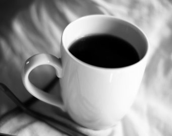 Black Coffee in Bed 8x12 image black and white bedroom still life