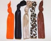 Elastic Hair Ties - Set of 5: orange, navy, khaki, leopard, and chocolate