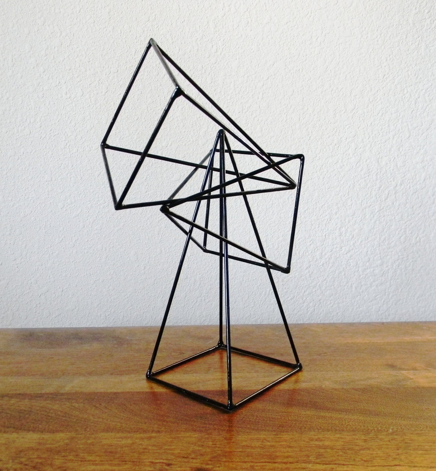 RESERVED Geometric Pyramid Sculptures Set Of 3 In Black