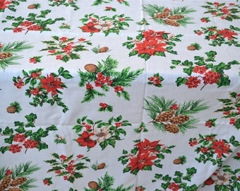 Christmas Tablecloth - Pine and Poinsettias - 59 x 59