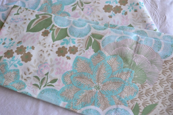 Vintage Pillowcases - Tropical Flowers in Tan and Aqua - Standard Size Pair
