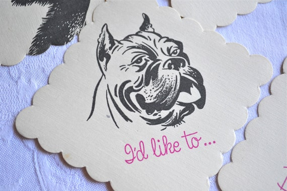 Vintage Paper Coaster Napkins - Comical Dogs - 12 Different