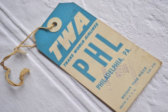 Vintage TWA Airlines Luggage Tag - Philadelphia, PA - PHL 1953