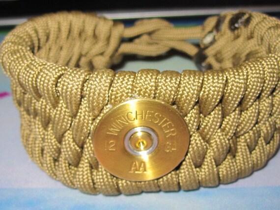 Paracord Survival Bracelet Winchester Shotgun Shell 12 Gauge Green Brown Gold
