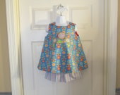 READY TO SHIP Size 3T Swing Top and Shorts Set in Flower Print Fabric with Coordinating Stripe Fabric with Flower Applique