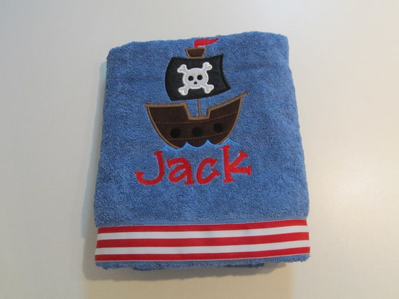 Boys, Bath, Beach, or Pool Towel with Pirate Ship Applique, Monogram, Red and White Stripe Ribbon
