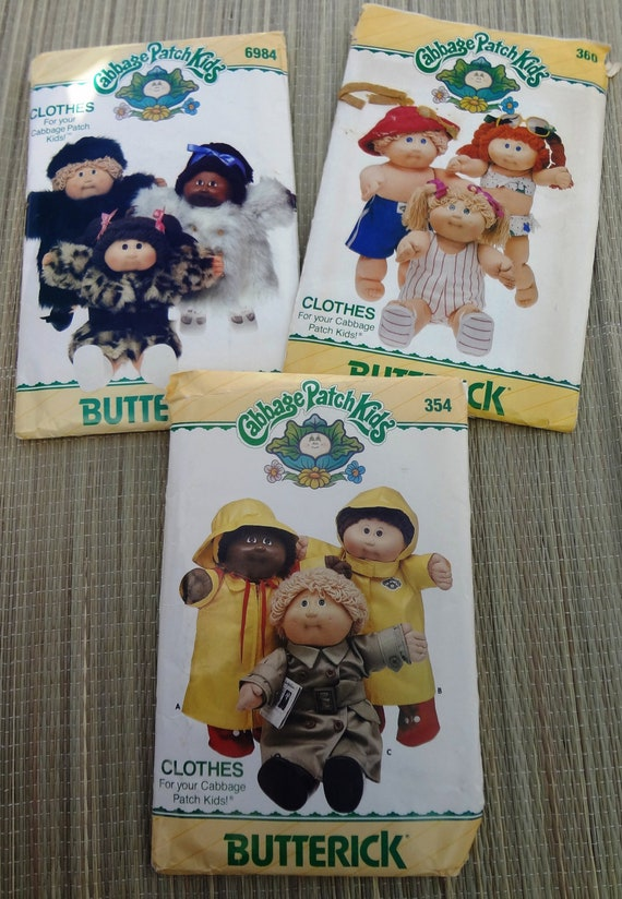three vintage cabbage patch doll clothes patterns