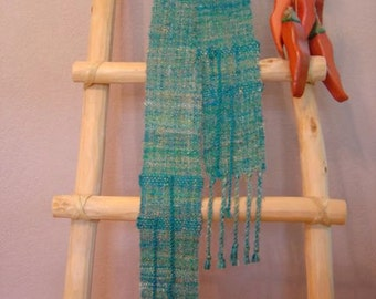 ON SALE Turquoise Trail handwoven scarf.  Free shipping.