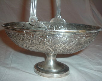 Vintage SILVER PLATED Fruit BASKET With Handle