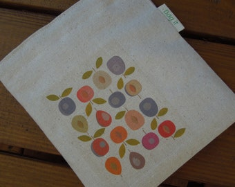 Reusable sandwich bag - Unbleached cotton sandwich bag - Re-usable sandwich bag - Plumbs on natural unbleached cotton
