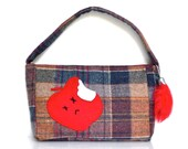 Poisoned Apple Purse - Wool Plaid - Magnetic Snap Closure