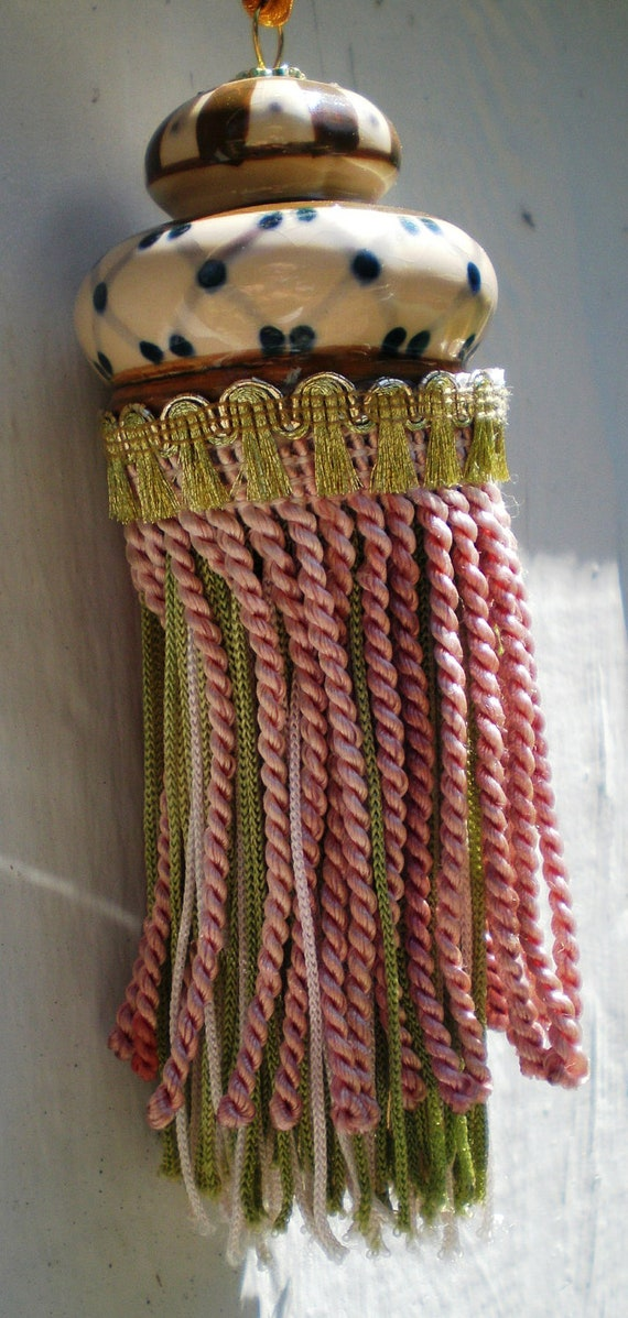 Vintage Tassel Porcelian Top Gold Braid Pale Pink Mint Green Collectible Boudoir Home Decor Victorian Style