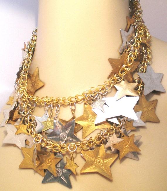 Vintage Necklace Chunky Stars Brass an Metal Long Chain Waterfall Bib Statement Jewelry 70s Hippi Boho