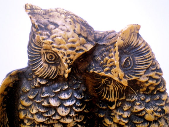 Vintage Owl Lovers Cuddle and Holding Claws Detailed Feathers Sitting On Log 50s Collectible Home Decor