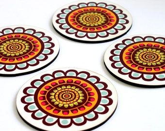 Drink coasters,Wood coasters,retro coaster set,Turquoise brown flowers,set of four,home decor,housewarming gift,colorful coasters